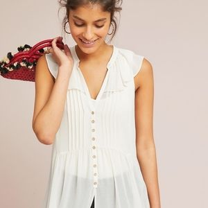Anthropologie Sheer Cream Tunic Button Up Top